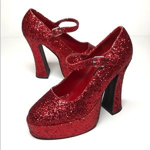 Red Glitter Platform Mary Janes sz 8